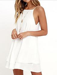 abordables -Femme Basique Mini Courte Robe Couleur Pleine A Bretelles Eté Bleu Blanc Vin M L XL Sans Manches