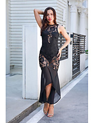 cheap -Women's Holiday Slim Trumpet / Mermaid Dress Lace Crew Neck