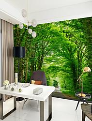 baratos -Mural Tela de pintura Revestimento de paredes - adesivo necessário Art Deco / Árvores / Folhas / 3D