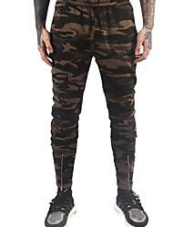 billige -Herre Basale Chinos Bukser Farveblok / camouflage