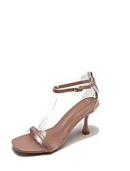 billige -Dame Sko PU Sommer Ankelrem Sandaler Kegleformet hæl Beige / Lys pink