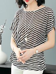 billige -Dame - Stribet T-shirt Blå & Hvid / Sort og hvid