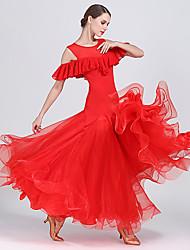 abordables -Baile de Salón Vestidos Mujer Rendimiento Raso / Georgette / Fibra de Leche Recogido / Volantes en Cascada Sin Mangas Cintura Alta Vestido