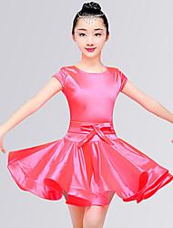 abordables -Danse latine Robes Fille Entraînement / Utilisation Elasthanne Noeud en satin / Ruché Manches Courtes Taille moyenne Robe
