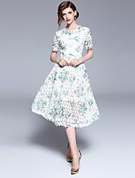 お買い得  -女性用 ヴィンテージ / ストリートファッション Aライン ドレス - レース, フラワー ミディ