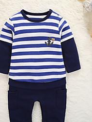 abordables -bébé Garçon Basique Quotidien Couleur Pleine / Rayé / Bloc de Couleur Imprimé / Mosaïque / Basique Manches Longues Coton / Polyester Une-Pièce Marine