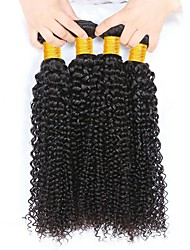 cheap -Indian Hair Curly Natural Color Hair Weaves / Extension 4 Bundles 8-28 inch Human Hair Weaves Machine Made Best Quality / Hot Sale / For Black Women Natural Black Human Hair Extensions Women's