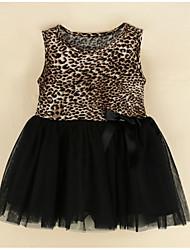 cheap -Baby Girls' Street chic Print / Leopard Sleeveless Cotton Dress / Toddler