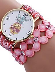 cheap -Xu™ Women's Bracelet Watch / Wrist Watch Chinese Creative / Casual Watch / Adorable PU Band Flower / Fashion Black / White / Blue / Imitation Diamond / Large Dial / One Year