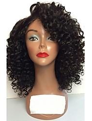 Недорогие -человеческие волосы Remy Лента спереди Парик Бразильские волосы Кудрявый Черный Парик Стрижка каскад 130% Плотность волос с детскими волосами Природные волосы Черный Жен. Короткие