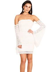cheap -women's going out slim sheath dress high waist asymmetrical strapless