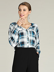 cheap -Suzanne Betro women's work loose shirt - plaid v neck