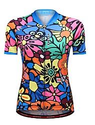 baratos -WOSAWE Mulheres Manga Curta Camisa para Ciclismo - Azul Floral / Botânico Moto Camisa / Roupas Para Esporte, Tiras Refletoras