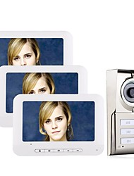 economico -MOUNTAINONE 3 Apartments  Video Door Phone Cavo 7 pollice Sistema Hands-Free 480*234 Pixel Uno o due video citofono