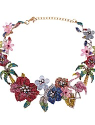 cheap -Women's Crystal Sculpture Choker Necklace / Chain Necklace / Statement Necklace - Tree of Life, Flower Luxury, Bohemian, Fashion Rainbow 38+8 cm Necklace 1pc For Wedding, Engagement