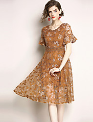 cheap -SHIHUATANG Women's Vintage / Sophisticated A Line Dress - Floral Lace