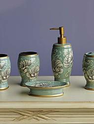 baratos -Jogo de Acessórios para Banheiro Novo Design Moderna Cerâmica 5pçs - Banheiro Solteiro (L150 cm x C200 cm)