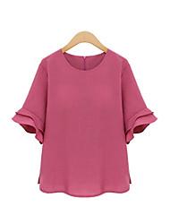 baratos -Mulheres Blusa Básico Frufru, Sólido
