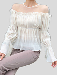 cheap -Women's T-shirt - Solid Colored Lace / Mesh