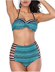 preiswerte -Damen Bikinis Geometrisch Hohe Taillenlinie
