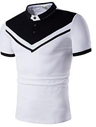 Недорогие -Муж. Polo Классический Контрастных цветов Черное и белое