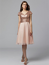 cheap -A-Line V Neck Knee Length Chiffon / Sequined Bridesmaid Dress with Sequin by LAN TING BRIDE® / Sparkle & Shine