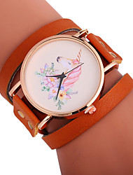 cheap -Xu™ Women's Bracelet Watch / Wrist Watch Chinese Creative / Casual Watch / Adorable PU Band Flower / Fashion Black / White / Red / Large Dial / One Year