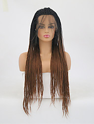cheap -Twist Braids / Synthetic Lace Front Wig Matte Braid Synthetic Hair Heat Resistant Dark Brown Wig Women's Long Lace Front / Yes