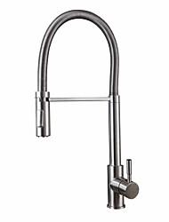 Недорогие -кухонный смеситель - Одной ручкой одно отверстие Нержавеющая сталь Высокий / High Arc Свободно стоящий Универсальная