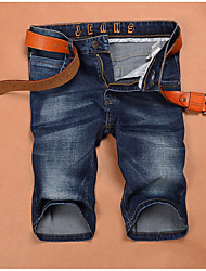 cheap -men's slim jeans / shorts pants - solid colored