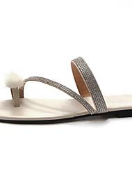 baratos -Mulheres Sapatos Couro Ecológico Verão Rasteirinhas Chinelos e flip-flops Sem Salto Preto / Bege