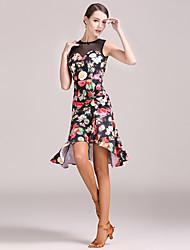 abordables -Danse latine Robes Femme Entraînement Spandex Motif / Impression Sans Manches Taille haute Robe