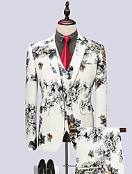 cheap -Men's Party Club Business Casual Suits-Floral Notch Lapel / Long Sleeve