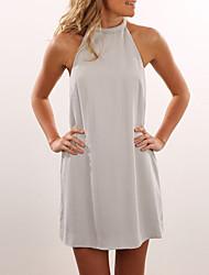 cheap -Women's Chiffon Dress - Solid Colored Backless