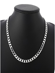 cheap -Men's Cuban Link Chain Necklace - Silver Plated Simple, Basic, Fashion Silver 50 cm Necklace 1pc For Daily, Street