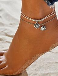 abordables -Bracelet de cheville - Cuir Eléphant Double couche Argent Pour Sortie / Bikini / Femme