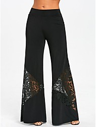 economico -Per donna Vita alta Cotone Largo Bootcut / A zampa Pantaloni - Fantasia geometrica Collage / Per uscire