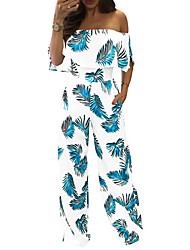 cheap -Women's Jumpsuit - Floral Wide Leg Boat Neck