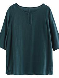 baratos -roupa de desporto feminina / t-shirt de algodão - gola redonda de cor sólida