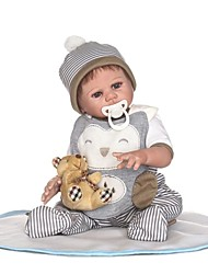 cheap -NPKCOLLECTION Reborn Doll Baby Boy 22 inch Full Body Silicone / Vinyl - Artificial Implantation Brown Eyes Kid's Boys' Gift