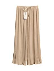 cheap -Women's Cotton Loose Wide Leg Pants - Solid Colored High Waist / Work