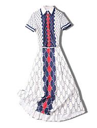 Недорогие -Жен. На выход / Офис Тонкие Блуза Юбки Контрастных цветов Рубашечный воротник