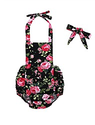 cheap -2pcs Baby Girls' Floral Sleeveless Bodysuit