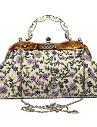 cheap -Women's Bags Polyester Evening Bag Beading / Buttons Floral Print Blushing Pink / Purple / Brown