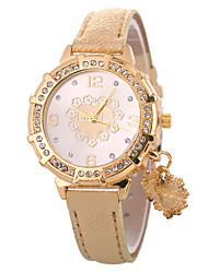 cheap -Xu™ Women's Dress Watch / Wrist Watch Chinese Creative / Casual Watch / Lovely PU Band Heart shape / Fashion Black / White / Blue / Imitation Diamond / Large Dial / One Year