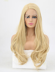 cheap -Synthetic Lace Front Wig Wavy Golden Layered Haircut Synthetic Hair Heat Resistant Golden Wig Women's Long Lace Front Light golden / Yes