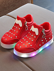 cheap -Boys' / Girls' Shoes PU(Polyurethane) Spring / Fall Bootie / Light Up Shoes Boots Chain / LED for Kids / Baby Black / Red / Pink / Booties / Ankle Boots