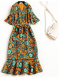 cheap -Miss French Women's Basic Flare Sleeve A Line / T Shirt Dress - Geometric Ruffle / Patchwork / Print