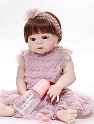 Недорогие -FeelWind Куклы реборн Девочки 22 дюймовый Полный силикон для тела - как живой Искусственная имплантация Коричневые глаза Детские Девочки Игрушки Подарок
