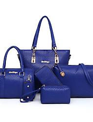 baratos -Mulheres Bolsas PU Conjuntos de saco 6 Pcs Purse Set Ziper Preto / Vermelho / Cinzento